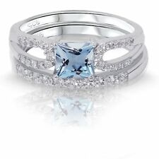 Princess Cut Aquamarine CZ Engagement / Wedding Sterling Silver Two Ring Set