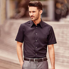 Mens Short Sleeve Shirt Fitted Look Summer Formal Casual Moisture Control to 4XL