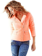 NIB GUESS Packable Down Quilted Puffer Moto Jacket Afterglow Orange XS 1 2 3