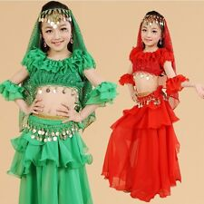 Kids Girls Belly Dance Costume Outfit Top Skirt Bollywood Halloween Indian 4PCS