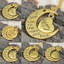 Mom Gift Personal Pendant Necklace I LOVE YOU TO THE MOON AND BACK Family Charm
