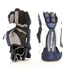 """NEW EASTON STEALTH CORE LACROSSE Form Fitting Split Cuff GLOVES 12-13"""" Navy/Wht"""