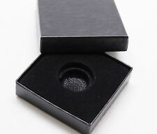 Black Paper Coin Box w Capsule, 1/10th oz Gold, Penny, Dime White Ring 16mm-19mm