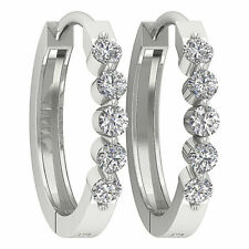 New SI1/G 0.50Ct Pave Set Round Cut Diamond 14K White Gold Hoops Huggie Earrings