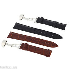 HOT 2 Color Genuine Leather Strap Steel Butterfly Clasp Wrist Watch Band