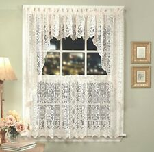 Hopewell Lace Kitchen Curtain - White or Cream - Tiers, Swags, Valances - NEW !