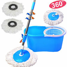 Floor Mop 360° Bucket 2 Heads Easy Magic Microfiber Spin Spinning Rotating Head