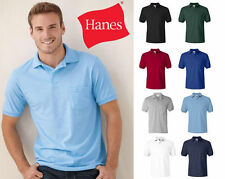 Hanes Mens Shirt polo Tee  Jersey Sport Shirt with a Pocket New S - 4XL  - 0504