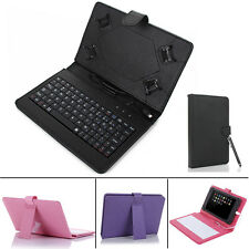 "New 7"" Leather Folio Case Cover USB Keyboard for 7"" inch Android Tablet +Stylus"