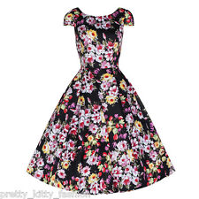 PRETTY KITTY BLACK MULTI FLORAL BLOOM PROM ROCKABILLY COCKTAIL SWING DRESS 8-18