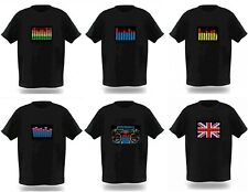 Sound Activated Electronic Light Up Rave Graphic Equalizer Flashing T Shirt New