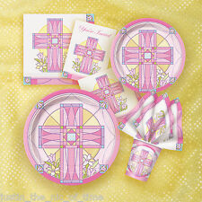 Christening Holy Communion Baptism Girl Pink Party Tableware Supplies
