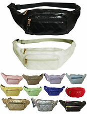 NEW UNISEX HOLIDAY FAUX LEATHER QUILTED ZIP FANNY PACK TRAVEL BUM BAGS GRUNGE