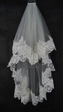 2 Layer Elbow Length Lace Sequin Wedding Bridal Veil Ivory White + Comb