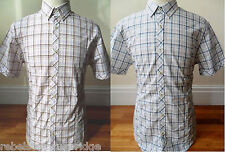 PETERWERTH Mens Short Sleeve Check Shirt Cotton Button Down Blue,Pink Sizes: 3-L