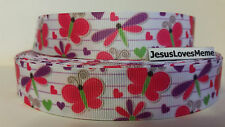 """Grosgrain Ribbon, Dragon Fly, Butterfly, Hearts, Daisies, Pink & Purple, 7/8"""""""