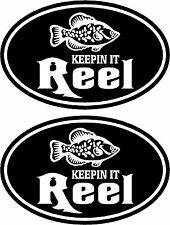 2 Keepin it reel crappie fishing funny boat car vinyl decals stickers #FS014