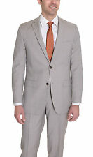 Alfani RED Slim Fit Light Tan Stepweave Two Button Wool Blend Suit