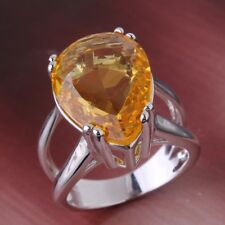 Stunning Vintage 18K gold filled champagne sapphire crystal lady rings Sz6to10