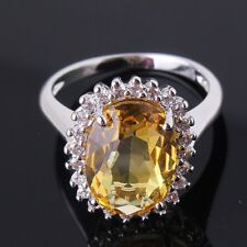 Classical 18K gold filled champagne Swarovski crystal flowery rings Sz6to10