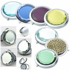 Round Shape Stainless Travel Compact Pocket Crystal Folding Makeup Mirror