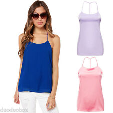Women Strappy Blouse Spaghetti Straps T-shirt Backless Vest Tank Tops Camisole