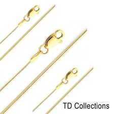 """14KT Solid Yellow Italian Gold Snake Chain Necklace 0.7mm  18"""", 22"""""""