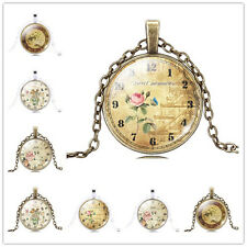 Charm Pretty Flower &Clock Photo Glass Dome Cabochon Pendant Necklace for Gift