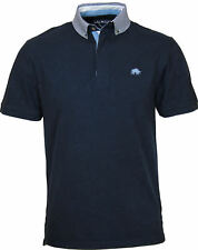 NEW MENS RAGING BULL POLO SHIRT Navy with Striped Collar Jersey Polo Golf Tshirt