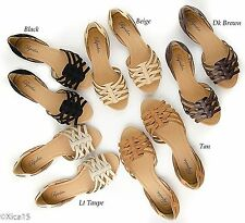 Womens D'orsay Huarache Flats Open Toe Sandal Shoe Lt Taupe or Brown Sizes 6-10