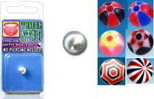 Fake tongue ball bar ring non piercing illusion cheater body jewellery