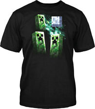 Minecraft 3 Creeper Moon Officially Licensed Kid's Youth Black T-Shirt