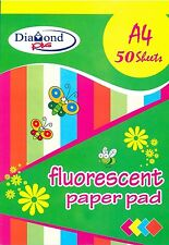 Fluorescent A4 50 Sheet Paper Pad/Assorted colours-CPG-019/Art & Craft/Cutting/