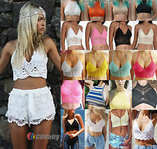 Womens Bralette Halter Neck Crop Top Knit Crochet Cami Summer Bikini Blouse Bra