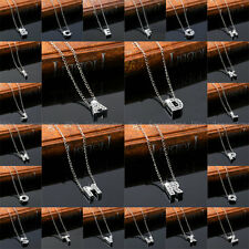 Silver Plated Crystal Alphabet Letter Name Initial Charm Chain Pendant Necklace