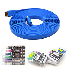 5ft 6ft 10ft 15ft 1080P Flat HDMI Cable 1.4 for DVD HDTV PS3 XBOX Blu-Ray 3D ARC