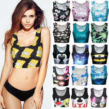 Sexy Women's 3D Graphic Print Sleeveless Crop Tops Short Vest Tank Tops Camisole