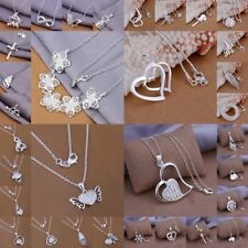 NEW GIFT Womens 925 Solid Silver Jewelry Pendant Necklace Chain Jewelry