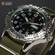 SHARK ARMY Mens Nylon Date Day Wrist Watch Stainless Steel Case Quartz Analog