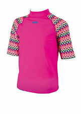 Zoggs Retro Wave Girls Sun Protection Swimming Top Rash Vest 7022150