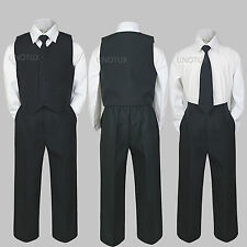 Baby Toddler Kid Teen Boy Wedding 4pc Formal Party Vest Suit Tie Set Black S-20