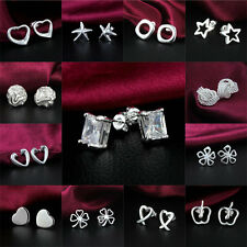 Fashion Silver Plated CZ Crystal Ear Studs Chic Hoop Earrings Wholesale Jewelry