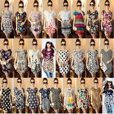 Vintage Women's Short Sleeve Blouse Loose Shirt 25 Pattern Print Casual Tops D74
