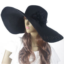 Lady 17cm Floppy Wide Brim Hat Black Solid Derby Hat Vacation Sunhat