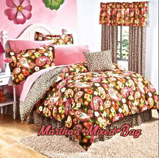 Teen Girls Brown Safari LEOPARD Print PinK Floral PAISLEY Comforter Set+DRAPES