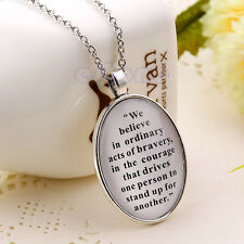 Fashion Necklace Divergent Inspired Oval Quote Charm Pendant Power & Faith Gift