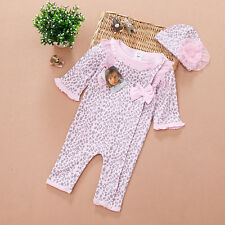 Girl Baby Infant Newborn Cap Hat+Romper Bodysuit Leopard Pink Clothes Set Outfit