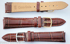 Croc Brown Genuine Real Leather Watch Strap Band Size 12-24mm Mens Ladies
