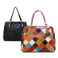 New Fashion Casual Hit Color Leather Totes Shoulder Crossbody Women's Handbags