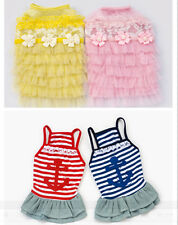 Small girl pet dog clothes apparel navy stripe skirt summer princess lace dress